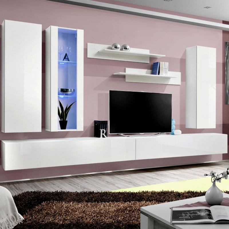 Meuble Tv Mural Design Fly Iv 320cm Blanc Paris Prix