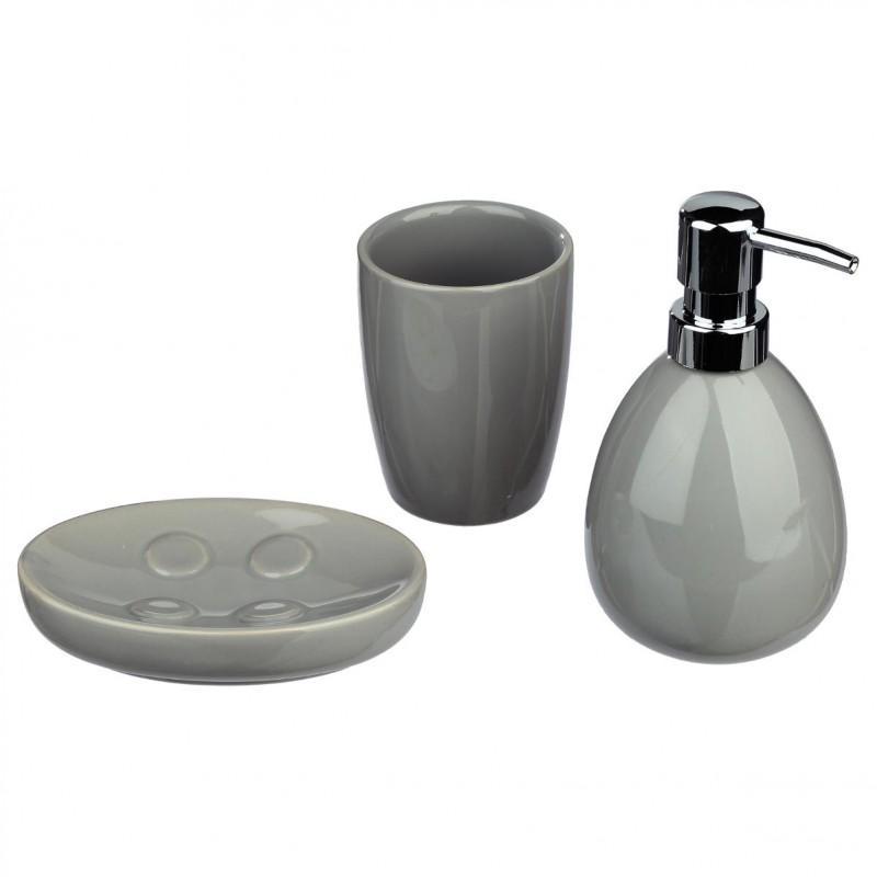 Set de 3 accessoires salle de bain gris - paris prix