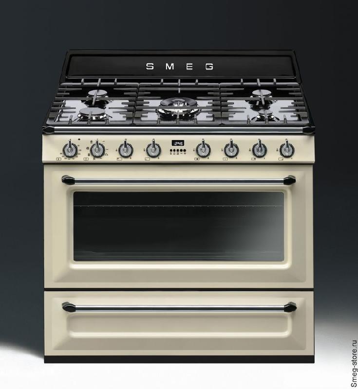 plus de photos c2b50 17d83 Smeg - cuisinière gaz centre de cuisson 90cm victoria tr90p ...