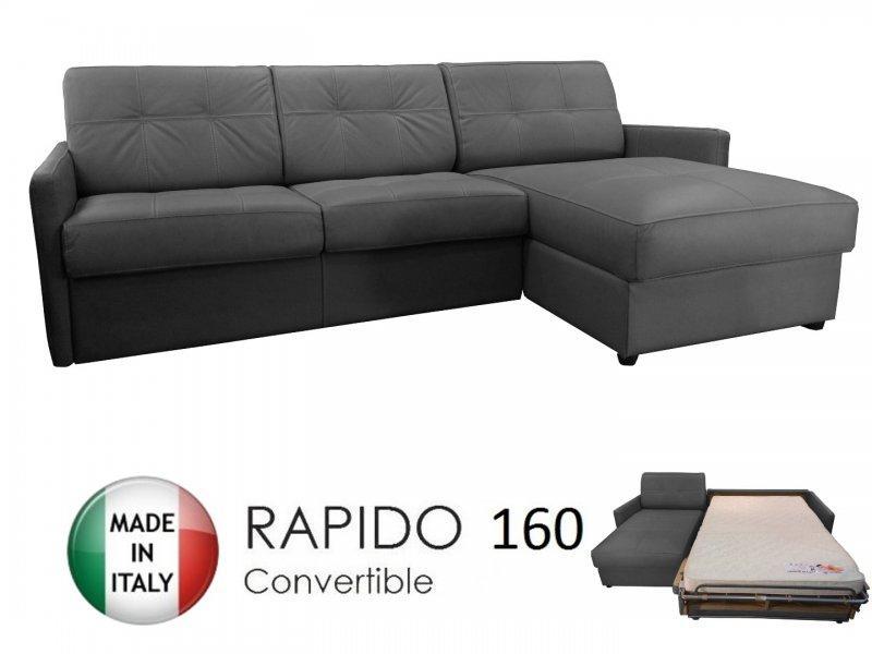 canape d 39 angle reversible ouverture rapido cube 160cm coffre tissu microfibre gris graphite. Black Bedroom Furniture Sets. Home Design Ideas
