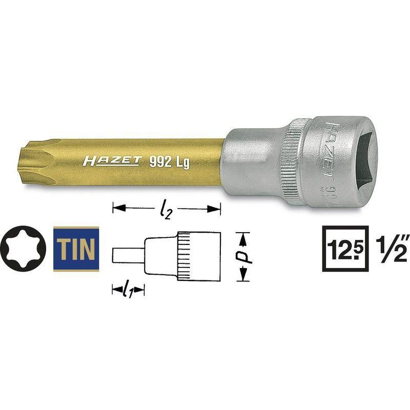 Hazet 992-T45 Douille m/âle carr/é creux 12,5 mm torx int/érieur Taille T/45