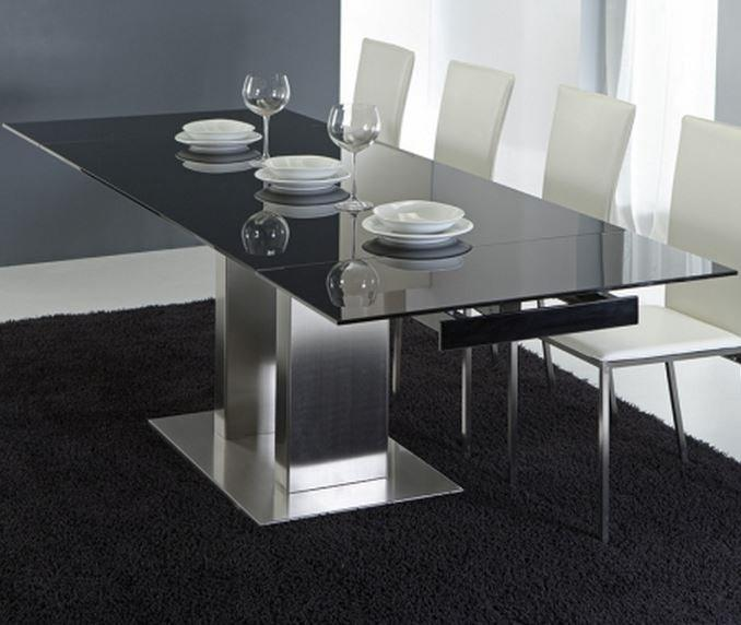 table repas extensible stone henge en verre noir et acier chrome. Black Bedroom Furniture Sets. Home Design Ideas