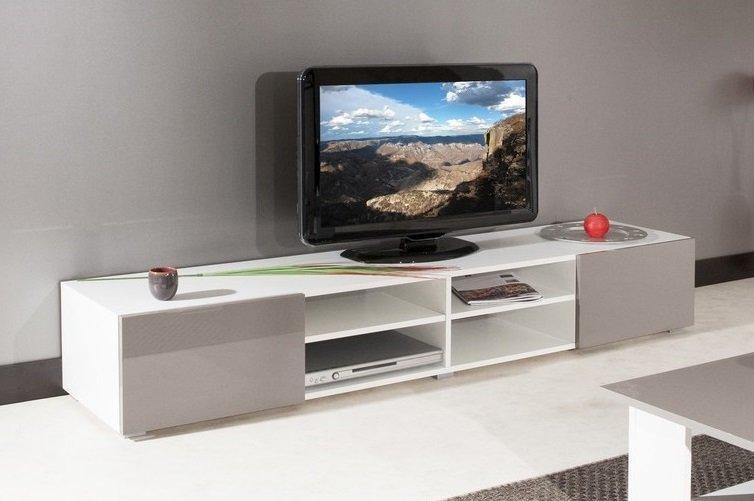 Atlantic meuble tv structure blanche et portes laqu es - Meuble tv grande taille ...