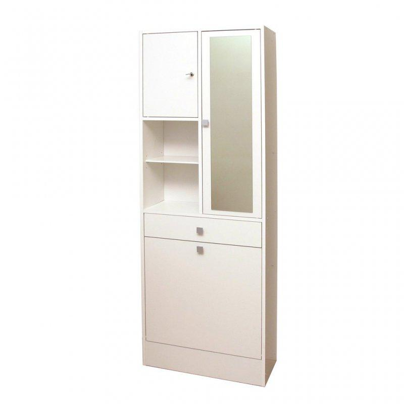 armoire et bac a linge blanc mat avec placards et tiroirs de rangements. Black Bedroom Furniture Sets. Home Design Ideas