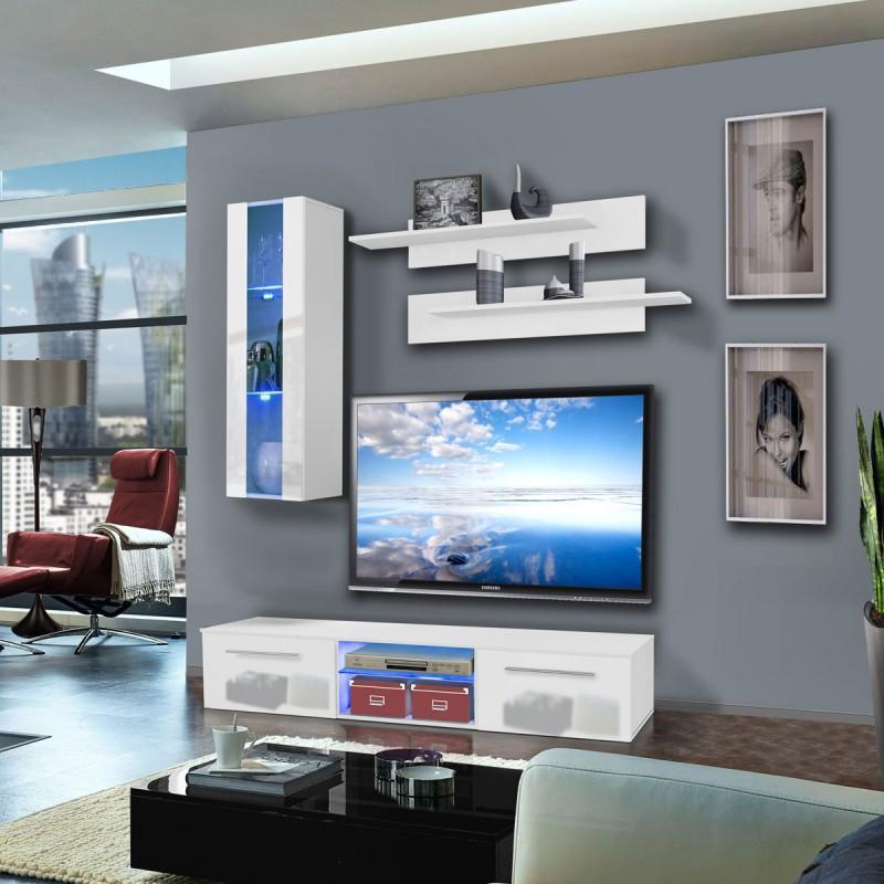 MEUBLE TV MURAL DRADA II 180CM BLANC - PARIS PRIX