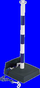 Poteau pvc bleu/blanc avec réserve de chaîne sur socle lesté 6kg - 2002370