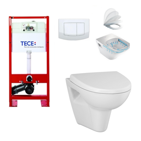 Pack wc suspendu tecebase cuvette sans bride clean on - Wc suspendu sans bride ...