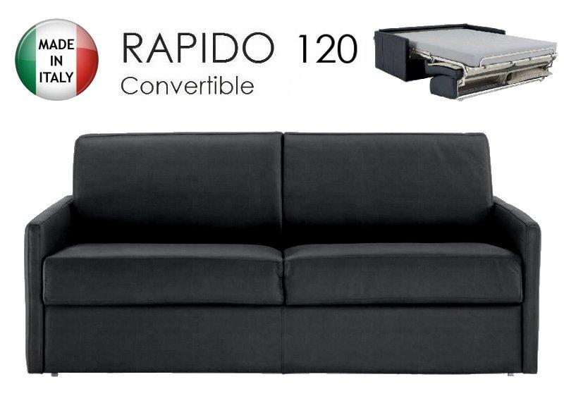 canape lit 2 3 places sun convertible ouverture rapido 120cm microfibre noire. Black Bedroom Furniture Sets. Home Design Ideas
