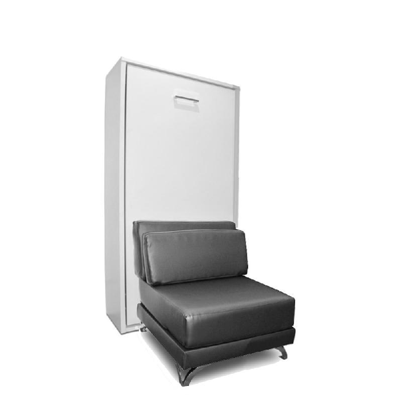 armoire lit escamotable town canape integre similicuir graphite couchage 90 200cm. Black Bedroom Furniture Sets. Home Design Ideas