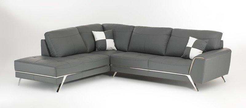canape d 39 angle gauche california cuir eco gris 287 238 cm. Black Bedroom Furniture Sets. Home Design Ideas