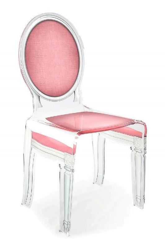 sixteen chaise acrila en plexi rose pale. Black Bedroom Furniture Sets. Home Design Ideas