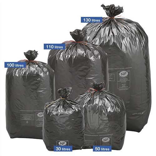 sacs poubelles bo te de 200 sacs poubelles noirs top qualit nf 130 litres 40 microns comparer. Black Bedroom Furniture Sets. Home Design Ideas