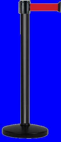 Poteau alu noir laqué à sangle rouge 3m x 50mm sur socle portable - 2010566