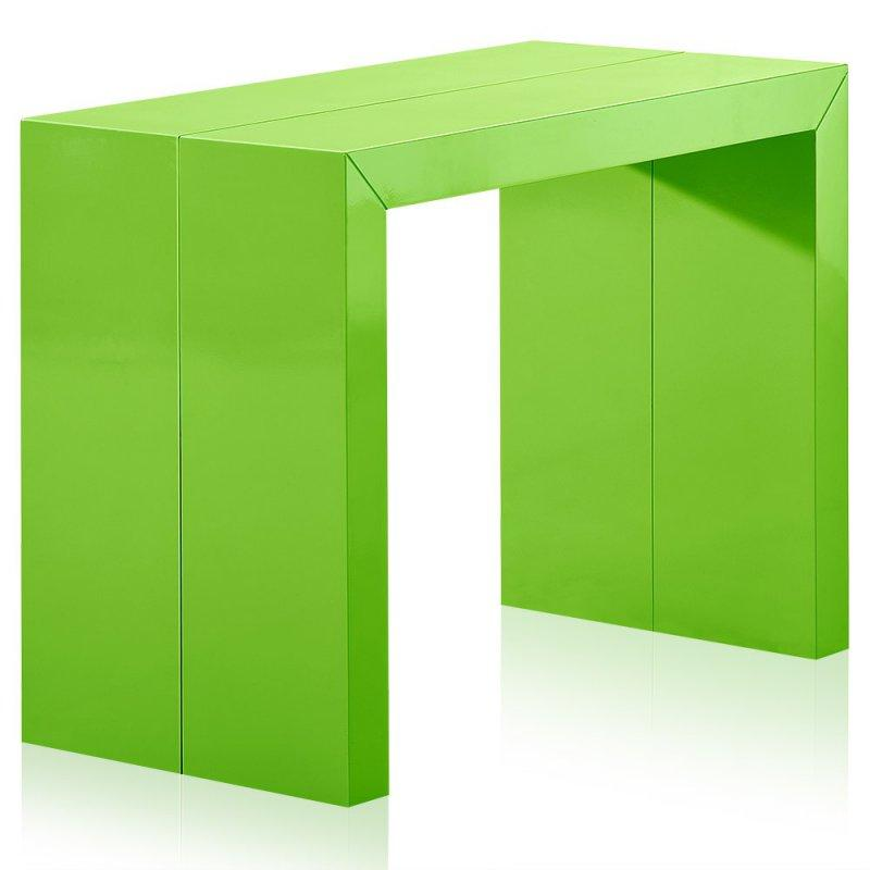 Console extensible illusion vert brillant for Table console pliable 2 6 couverts
