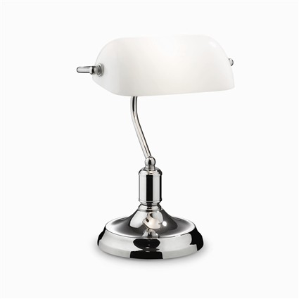 lampe de bureau de banquier blanche et chrome. Black Bedroom Furniture Sets. Home Design Ideas
