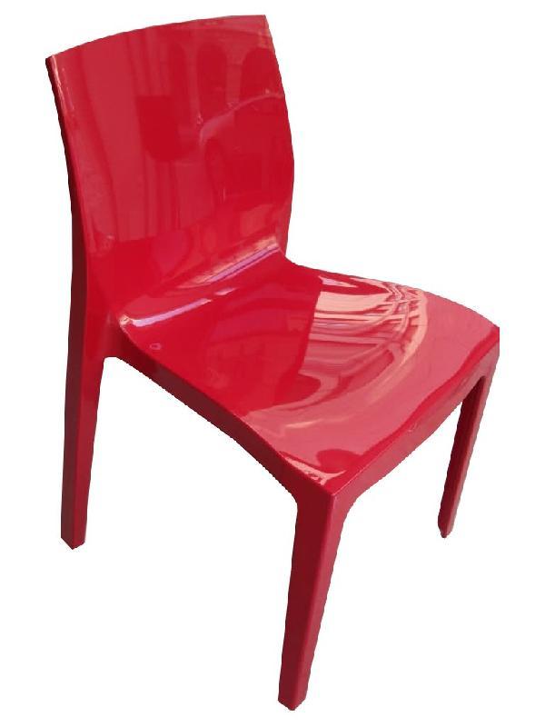 Lot De 4 Chaises Haut Gamme Falena Empilables Rouge Brillant