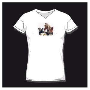 T-shirt femme cheval & chat col v