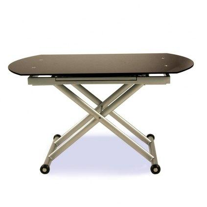 Table Relevable Ronde En Verre Avec Allonges