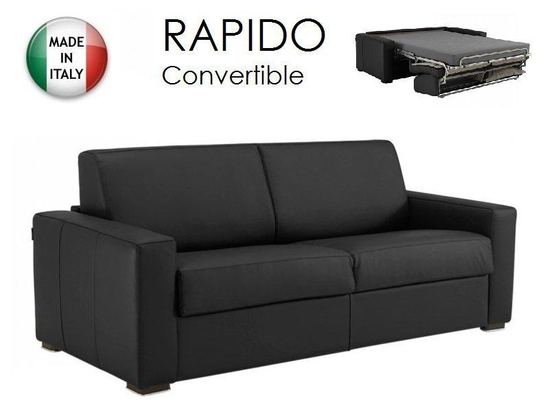 canape convertible ouverture rapido 120cm dreamer cuir vachette noir couchage quotidien. Black Bedroom Furniture Sets. Home Design Ideas