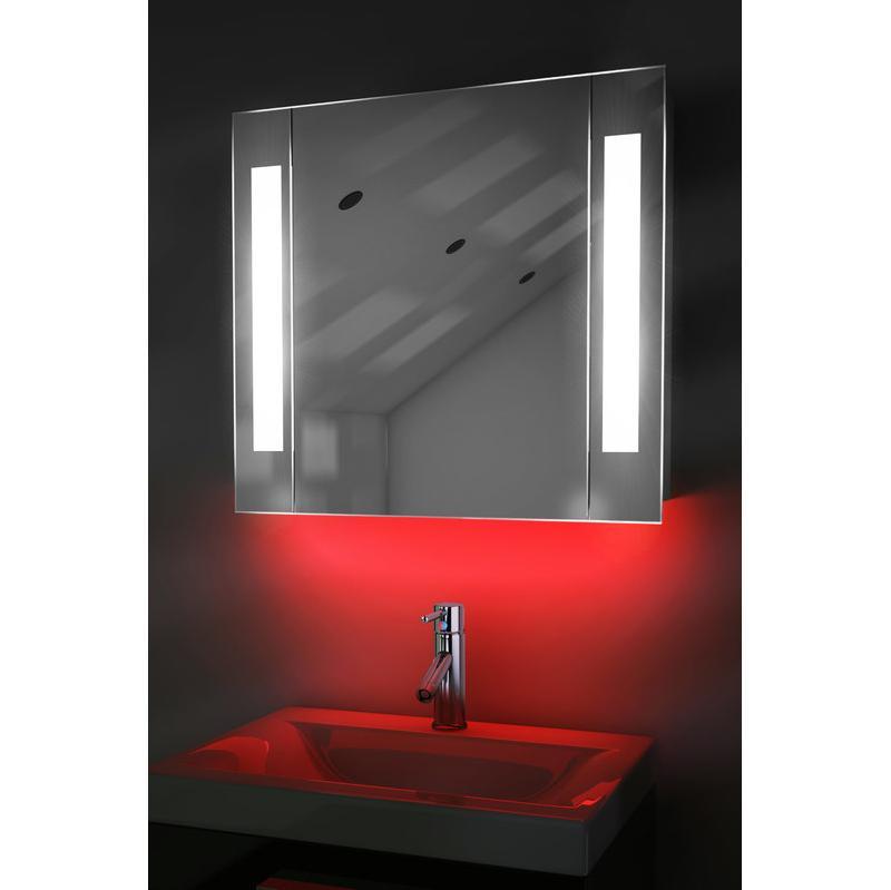 MIROIR DE SALLE DE BAIN AVEC CAPTEUR ET PRISE RASOIR INTERNE K17R - COULEUR LED : ROUGE - DIAMOND X COLLECTION