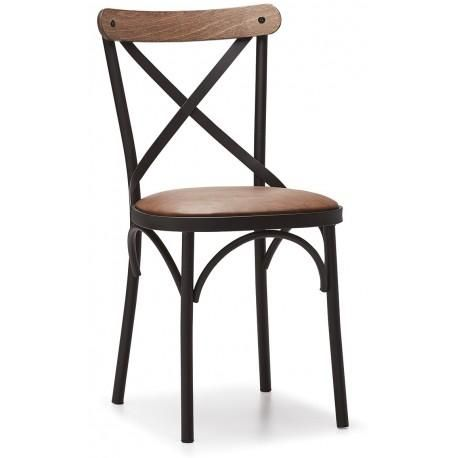 Chaise Cross Metal Cuir