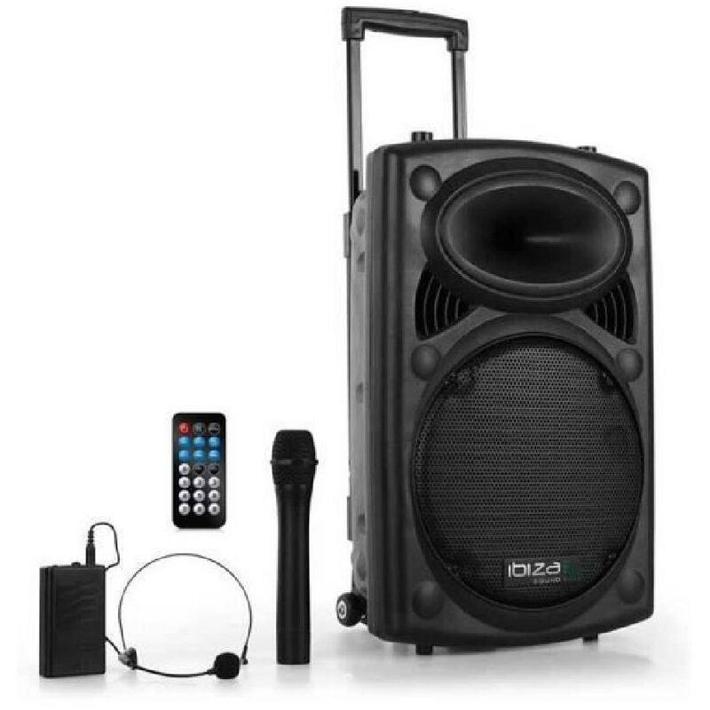 IBIZA SOUND - IBIZA PORT12VHF-BT SYSTEME DE SONORISATION PORTABLE AUTONOME 12/30CM AVEC USB-MP3/REC/BLUETOOTH/VOX/2 MICROS VHF
