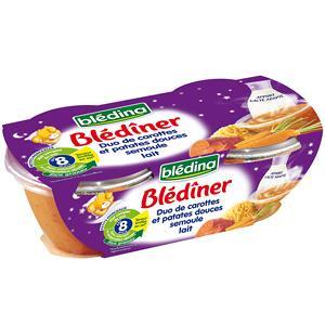 bledina blediner patates douces carottes semoule lait des 8 mois 2 x 200 g. Black Bedroom Furniture Sets. Home Design Ideas