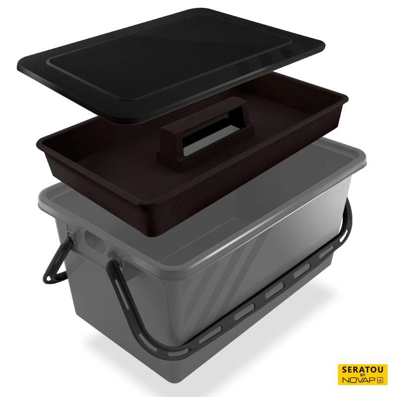Boite de rangement 10 l gris - couvercle noir - seratou - 5910030