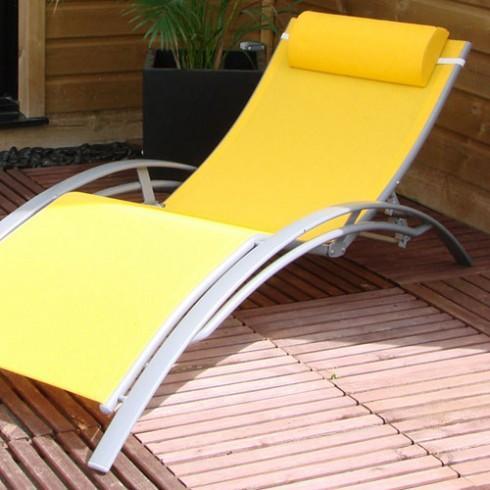 Textilène Aluminium Chaise Et Longue Jaune Gris pSGLUMVqz
