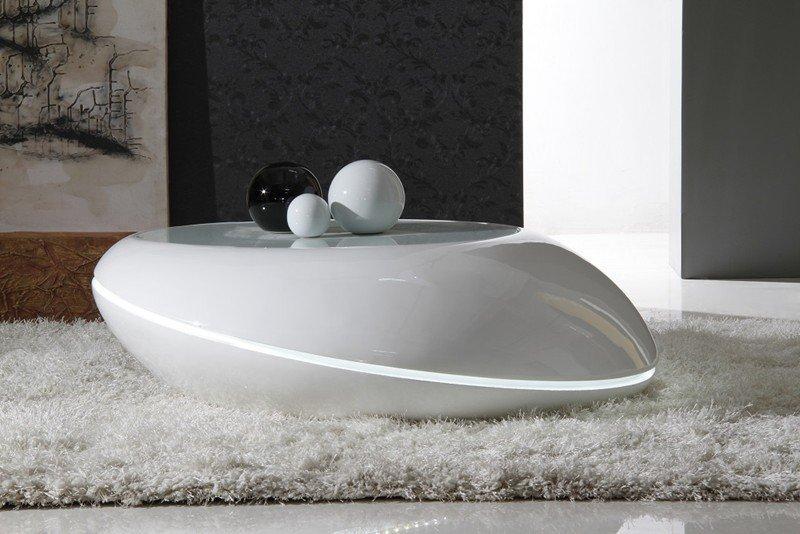 Galet table basse design gris clair avec eclairage led