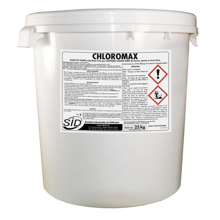 Galet de chlore à dissolution lente pour traitement longue durée des bassins, piscines et circuits d'eau. chloromax