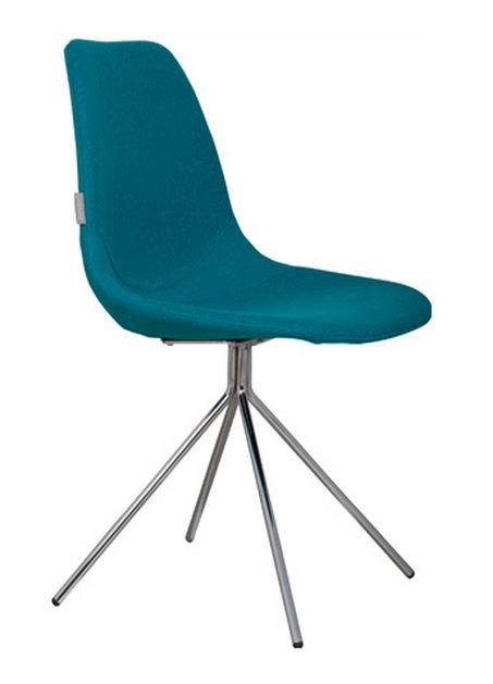 Chaise zuiver fourteen bleue pietement chrome for Chaise zuiver