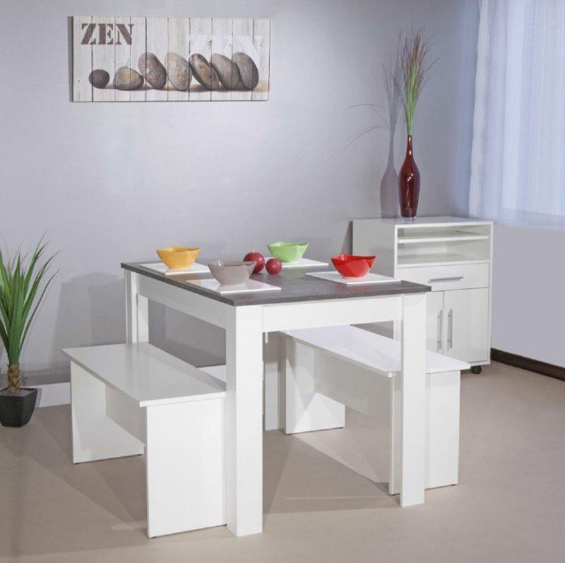 atlantique table repas 4 personnes blanche avec plateau aspect b ton comparer les prix de. Black Bedroom Furniture Sets. Home Design Ideas
