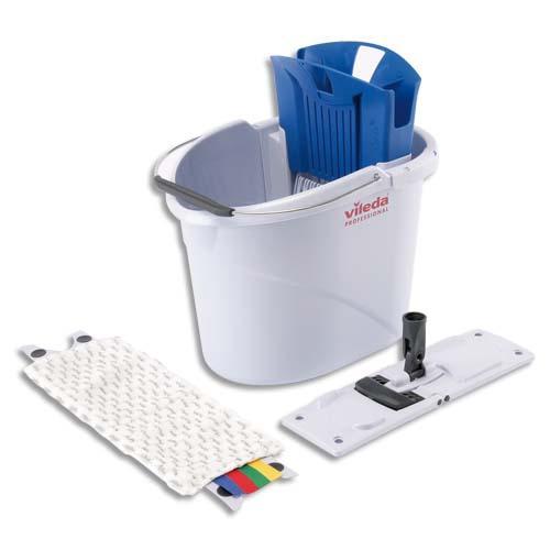 Vileda kit seau gris capacité 10l l39 x h45 x p30 cm, presse bleu, 1 micromop et 1 mopframe pour 10-30 m2
