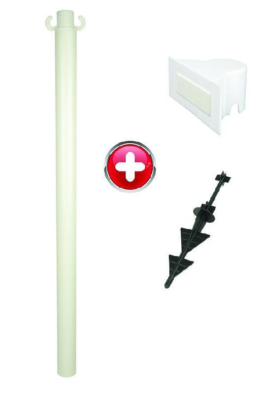 Poteau PVC grande hauteur Blanc sur pointe avec support panneau - 2000260