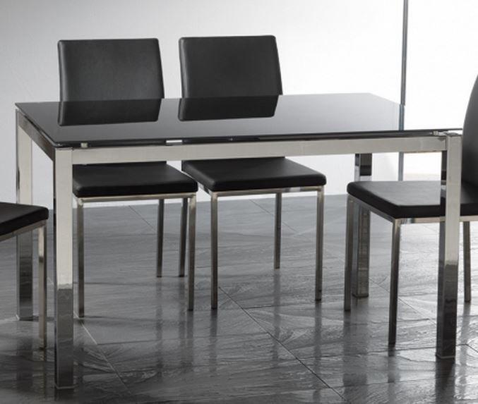 Table repas extensible majestic 130 x 80 cm en verre noir - Table salle a manger acier ...