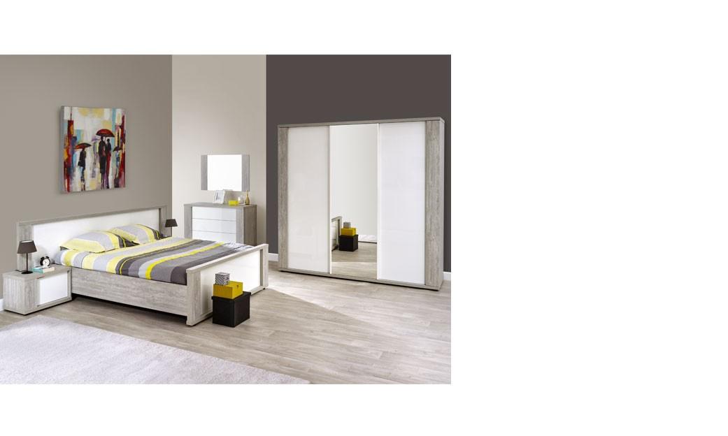 Chambre complète adulte moderne blanc laqué et couleur bois gris florine