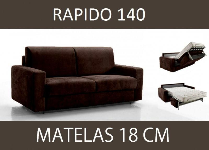 canape lit 3 places master convertible ouverture rapido 140 cm microfibre marron matelas 18 cm. Black Bedroom Furniture Sets. Home Design Ideas