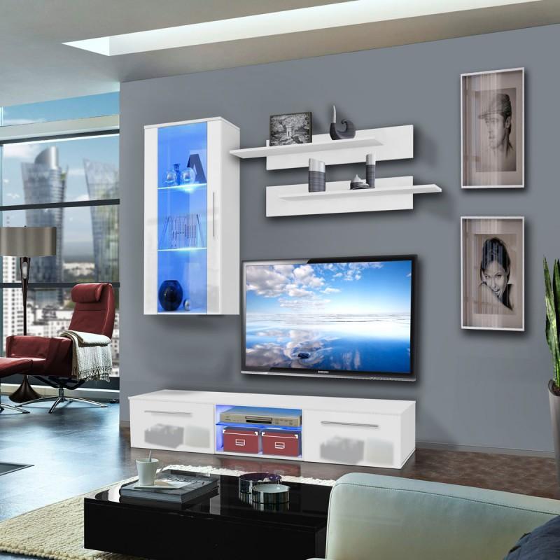 MEUBLE TV MURAL DRADA VII 180CM BLANC - PARIS PRIX