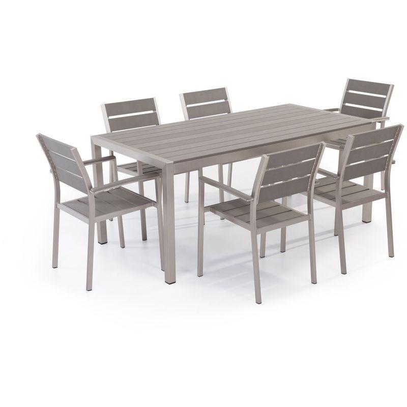 TABLE DE JARDIN 180 X 90 CM BLANCHE ET ARGENTÉE AVEC 2 BANCS ASSORTIS BELIANI