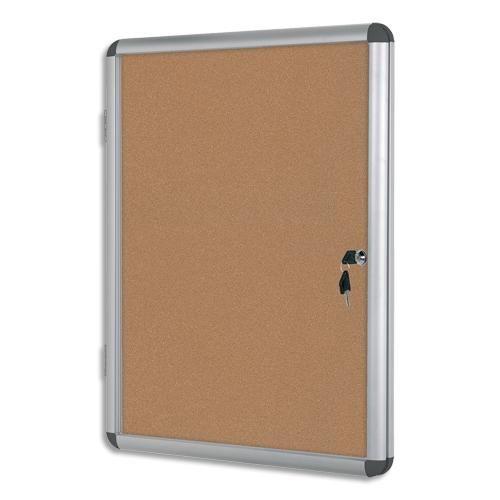 Bi-office vitrine d'intérieur en aluminium, surface en liège - format : 98,1 x 72 cm