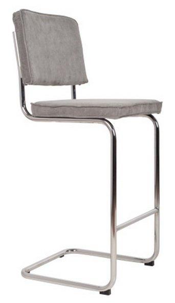Chaise de bar zuiver ridge rib en velours coloris gris for Chaise zuiver