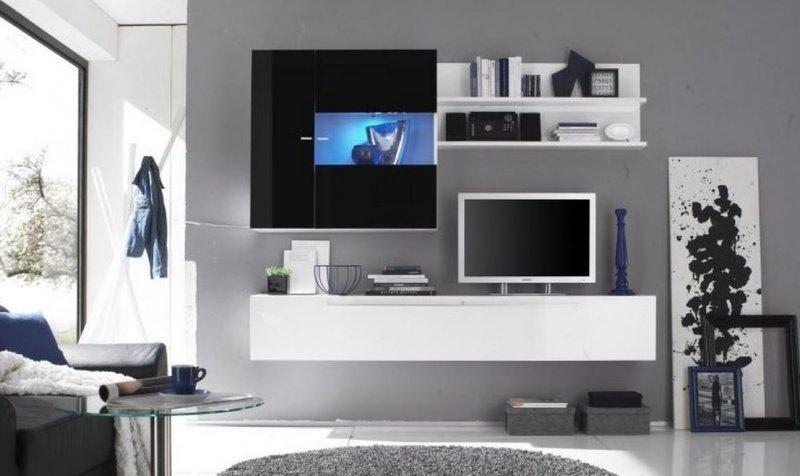COMPOSITION MURALE TV DESIGN PRIMERA 2 BLANC ET NOIR