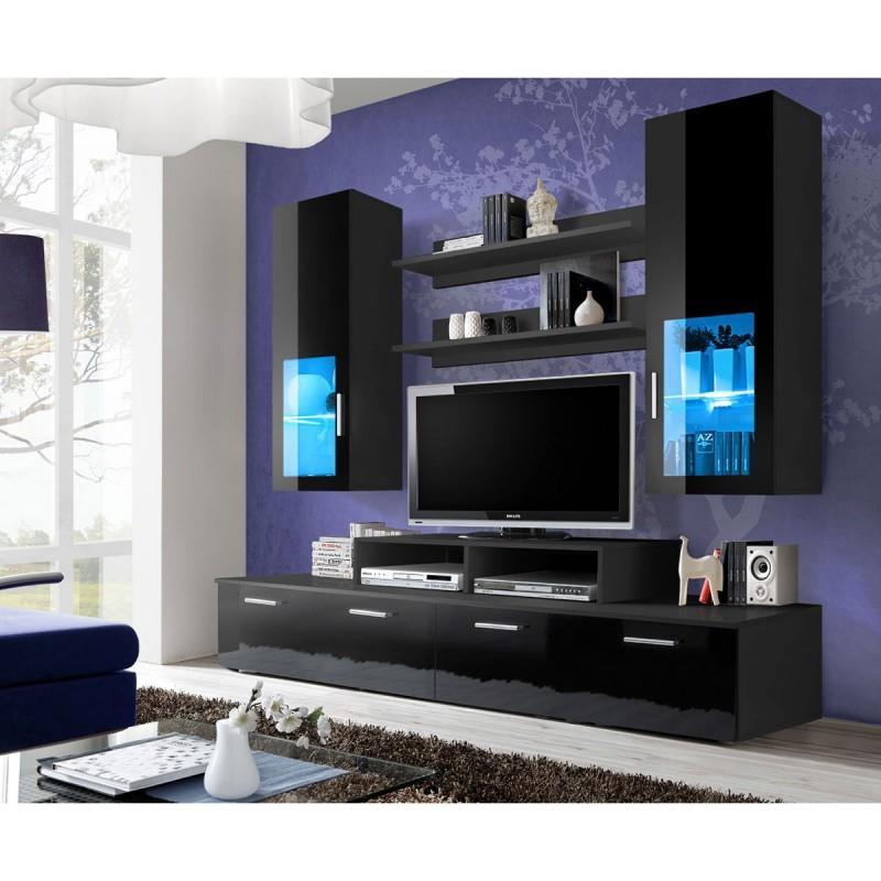 meuble tv mural design mini 200cm noir - paris prix