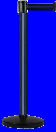 Poteau Alu Bleu laqué à sangle Noir/Bleu 3m x 50mm sur socle portable - 2010092