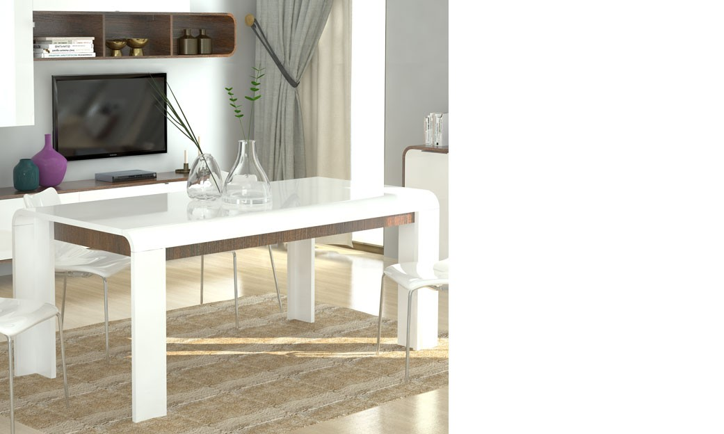 table a manger blanc laque et couleur bois fonce moderne hawai. Black Bedroom Furniture Sets. Home Design Ideas