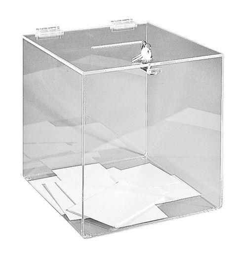 Urne transparente sécurisée de comptoir - 500 bulletins