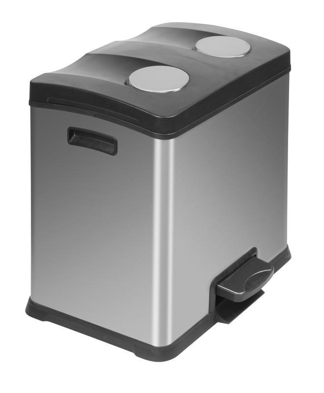 Corbeille / poubelle de cuisine à tri sélectif 2x12 litres