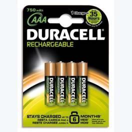 DURACELL BLISTER DE 4 ACCU RECHARGEABLES AAA/HR03 1,2VOLT +CCR