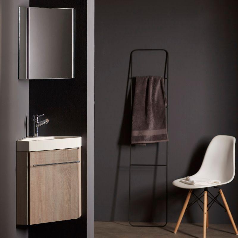 lave mains d 39 angle avec meuble complet couleur ch ne avec mitigeur eau chaude eau froide. Black Bedroom Furniture Sets. Home Design Ideas